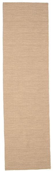 Kilim Loom - Beżowy Dywan 80X300 Nowoczesny Tkany Ręcznie Chodnik Beżowy/Jasnobrązowy (Wełna, Indie)