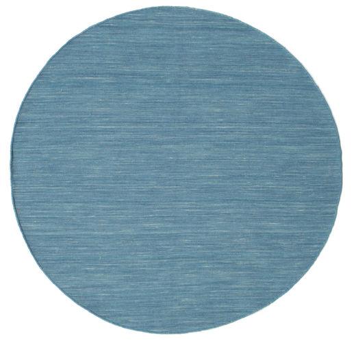 Kelim Loom - Blå Teppe Ø 150 Ekte Moderne Håndvevd Rundt Turkis Blå/Blå/Lys Blå (Ull, India)