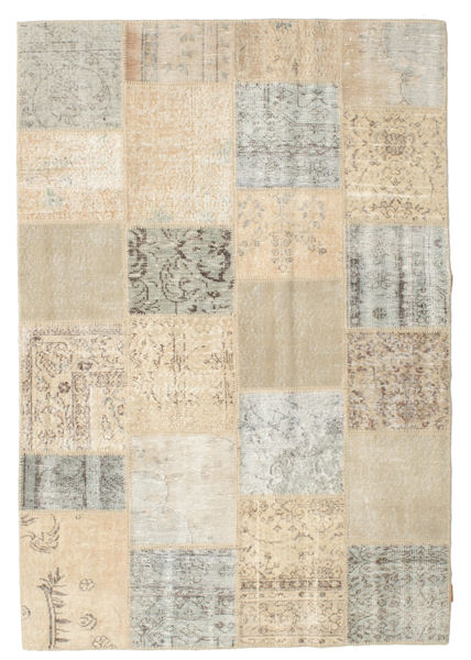 Patchwork Rug 158X230 Authentic  Modern Handknotted Light Brown/Light Grey/Beige (Wool, Turkey)