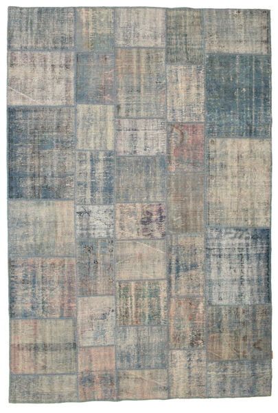 Patchwork Rug 203X301 Authentic  Modern Handknotted Dark Grey/Light Grey/Light Brown (Wool, Turkey)