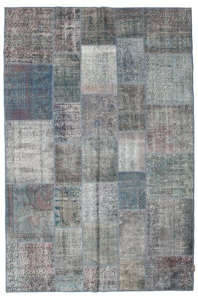 Patchwork Tapis 198X300 Moderne Fait Main Gris Clair/Bleu (Laine, Turquie)