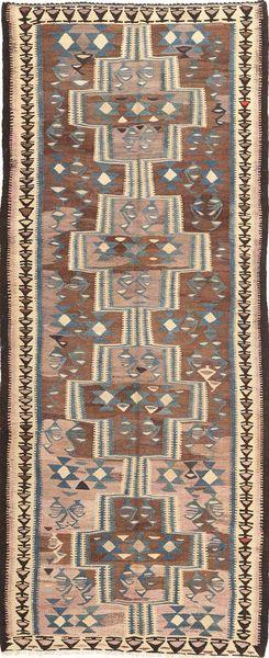 Kilim Fars Szőnyeg 135X335 Keleti Kézi Szövésű Világosbarna/Sötétszürke (Gyapjú, Perzsia/Irán)
