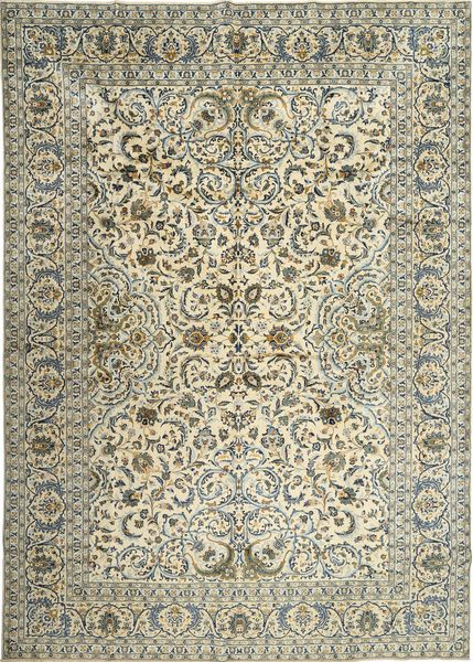 Keshan Rug 290X410 Authentic  Oriental Handknotted Beige/Olive Green/Dark Grey Large (Wool, Persia/Iran)
