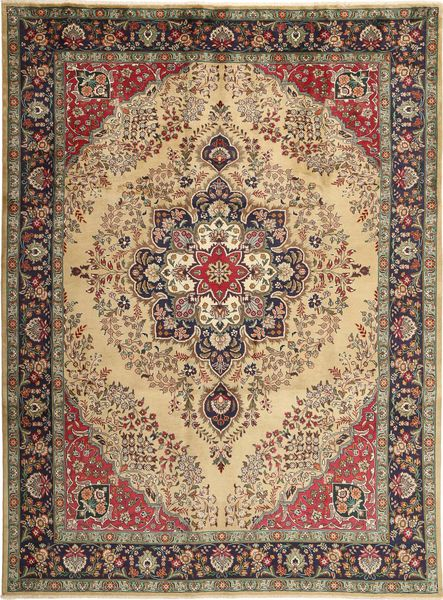 Tabriz Rug 255X340 Authentic  Oriental Handknotted Light Brown/Dark Brown Large (Wool, Persia/Iran)