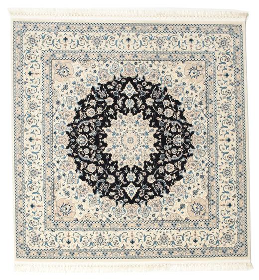 Nain Emilia - Donkerblauw Vloerkleed 150X150 Oosters Vierkant Beige/Lichtgrijs ( Turkije)