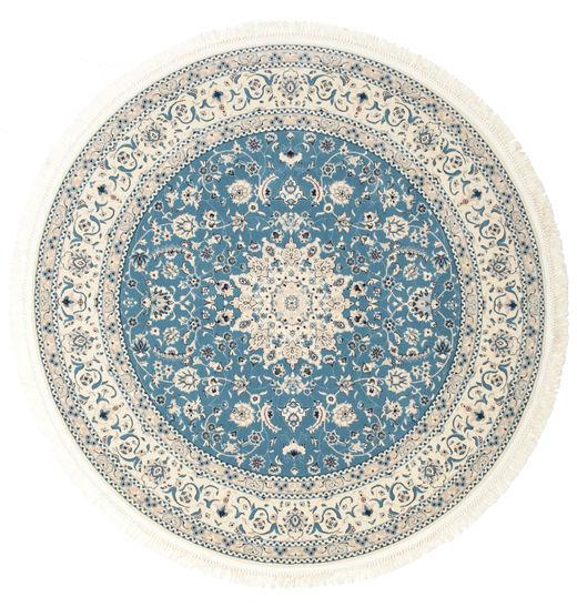 Nain Emilia - Lichtblauw Vloerkleed Ø 200 Oosters Rond Beige/Lichtgrijs ( Turkije)
