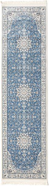 Nain Emilia - Lichtblauw Vloerkleed 80X300 Oosters Tapijtloper Beige/Lichtgrijs ( Turkije)