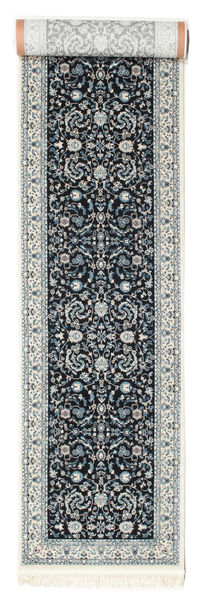 Nain Florentine - Mörkblå Matta 80X500 Orientalisk Hallmatta Ljusgrå/Mörkblå ( Turkiet)