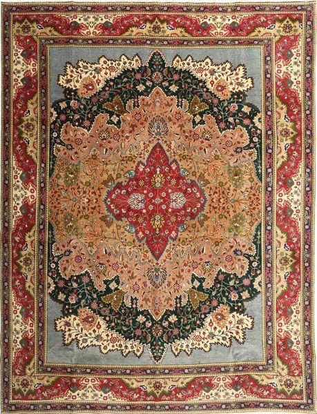 Tabriz Patina Matto 315X408 Itämainen Käsinsolmittu Tummanruskea Isot (Villa, Persia/Iran)