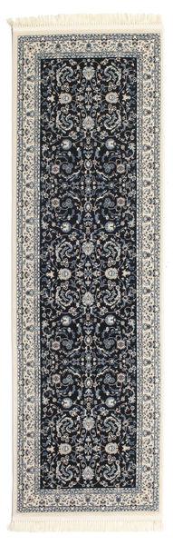 Nain Florentine - Ciemnoniebieski Dywan 80X250 Orientalny Chodnik Czarny/Jasnoszary ( Turcja)