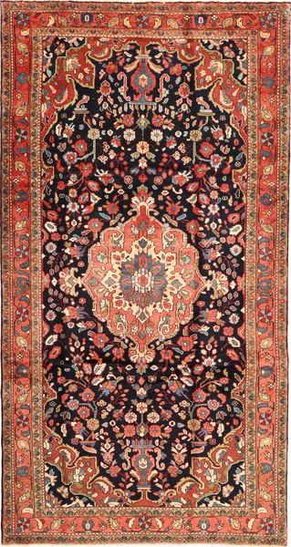 Nanadj Rug 175X342 Authentic  Oriental Handknotted Dark Red/Rust Red (Wool, Persia/Iran)