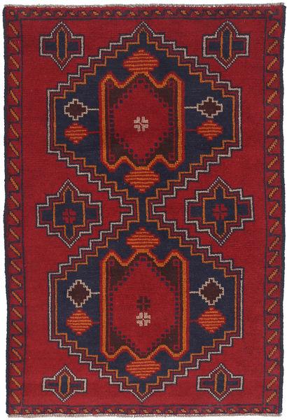 Beluch Matta 88X135 Äkta Orientalisk Handknuten Mörkröd/Mörklila (Ull, Afghanistan)