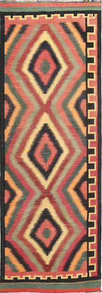 Kelim Fars Matto 133X387 Itämainen Käsinkudottu Käytävämatto Musta/Tummanharmaa (Villa, Persia/Iran)
