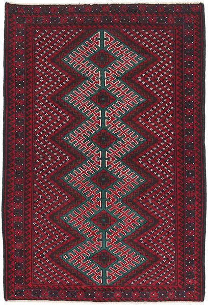 バルーチ 絨毯 86X138 オリエンタル 手織り 深紅色の/濃い茶色 (ウール, アフガニスタン)