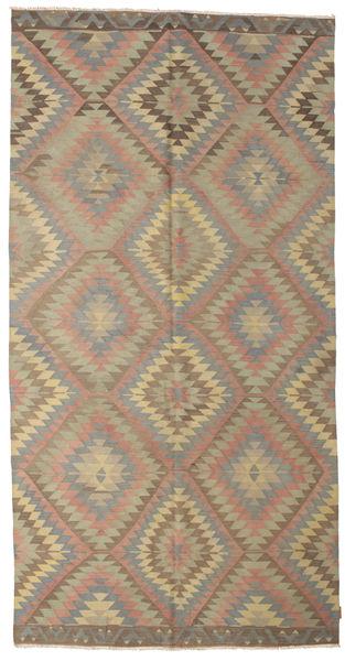 Kilim Semi Antique Turkish Rug 170X335 Authentic  Oriental Handwoven Light Brown/Olive Green (Wool, Turkey)