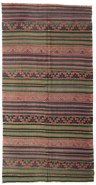 Kelim Semiantiikki Turkki Matto 176X345 Itämainen Käsinkudottu Tummanharmaa/Vaaleanruskea (Villa, Turkki)