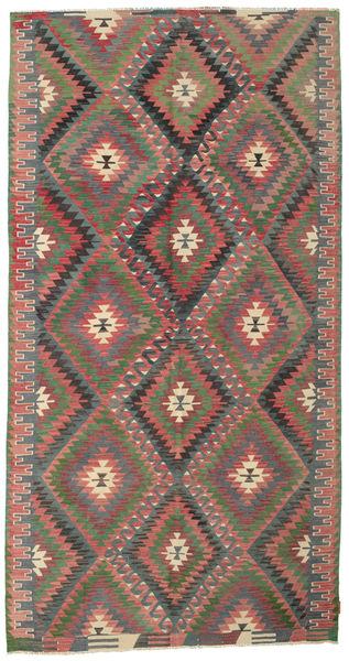 Kilim Semi Antique Turkish Rug 172X326 Authentic  Oriental Handwoven Dark Green/Dark Red (Wool, Turkey)