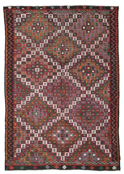 Kilim Semi Antique Turkish Rug 188X266 Authentic  Oriental Handwoven Dark Red/Dark Grey (Wool, Turkey)
