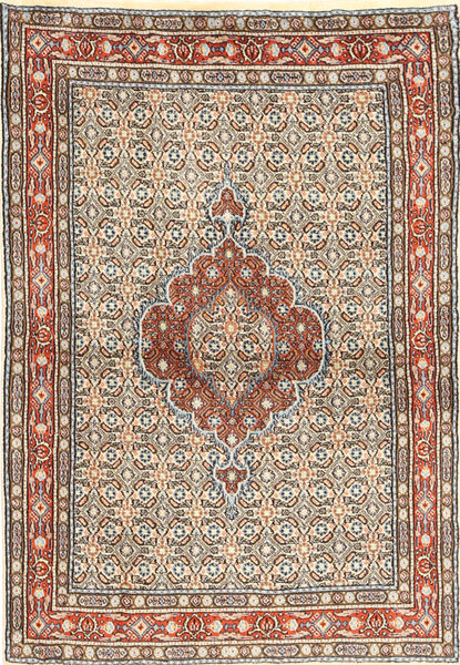 Moud Rug 98X147 Authentic  Oriental Handknotted Light Brown/Light Pink (Wool/Silk, Persia/Iran)