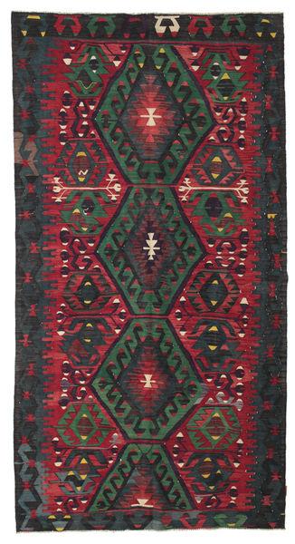 Kilim Semi Antique Turkish Rug 166X314 Authentic  Oriental Handwoven Black/Dark Red (Wool, Turkey)
