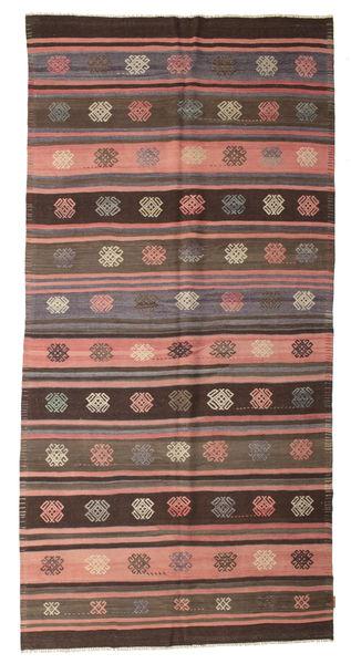 Kilim Semi Antique Turkish Rug 168X340 Authentic  Oriental Handwoven Dark Brown/Light Brown (Wool, Turkey)
