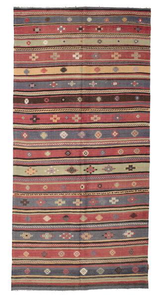 Kilim Semi Antique Turkish Rug 166X342 Authentic  Oriental Handwoven Light Brown/Rust Red (Wool, Turkey)