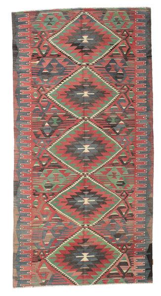 Kelim Semiantiikki Turkki Matto 157X308 Itämainen Käsinkudottu Ruoste/Tummanharmaa (Villa, Turkki)