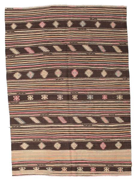 Kelim Semi-Antiek Turkije Vloerkleed 186X260 Echt Oosters Handgeweven Donkerbruin (Wol, Turkije)