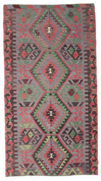 Kilim Semi Antique Turkish Rug 162X300 Authentic  Oriental Handwoven Dark Grey/Dark Brown/Rust Red (Wool, Turkey)