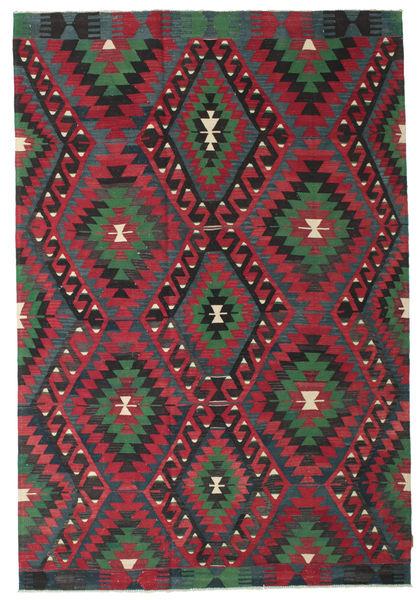 Kelim Semiantiikki Turkki Matto 194X284 Itämainen Käsinkudottu Musta/Tummanpunainen (Villa, Turkki)