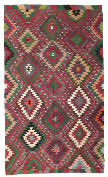 Kilim Semi Antique Turkish Rug 187X317 Authentic  Oriental Handwoven Crimson Red/Dark Green (Wool, Turkey)
