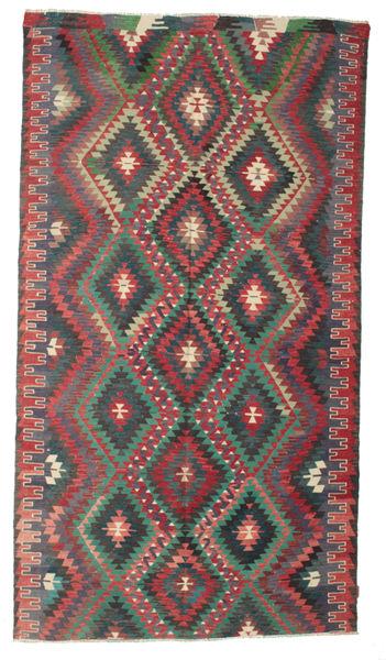 Kilim Semi Antique Turkish Rug 188X343 Authentic  Oriental Handwoven Dark Grey (Wool, Turkey)