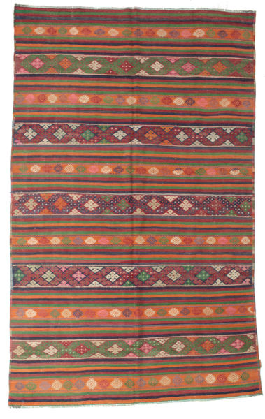 Kelim Semiantiikki Turkki Matto 200X320 Itämainen Käsinkudottu Ruskea/Oranssi (Villa, Turkki)