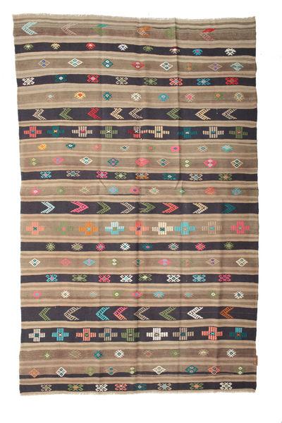 Kelim Semiantiikki Turkki Matto 158X248 Itämainen Käsinkudottu Vaaleanruskea/Violetti (Villa, Turkki)