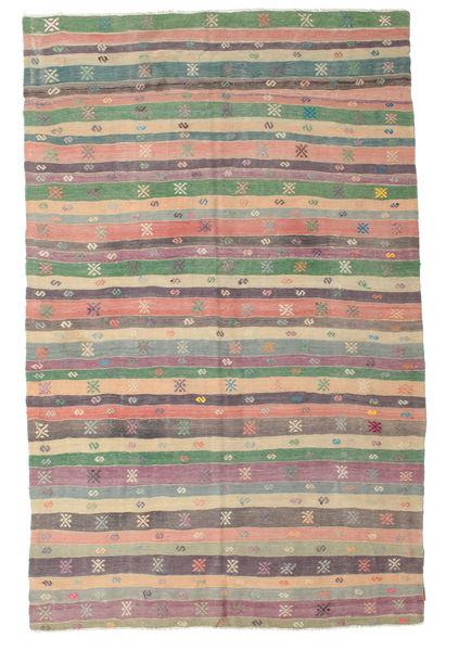 Kelim Halbantik Türkei Teppich  196X308 Echter Orientalischer Handgewebter Dunkelgrau/Helllila (Wolle, Türkei)