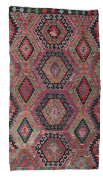 Kilim Semi Antique Turkish Rug 181X327 Authentic  Oriental Handwoven Crimson Red/Black (Wool, Turkey)