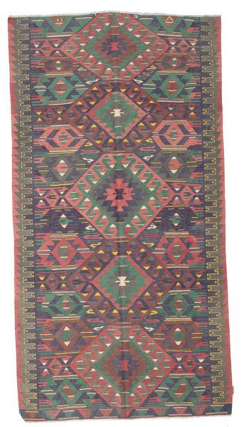 Kelim Semiantiikki Turkki Matto 174X330 Itämainen Käsinkudottu Tummanharmaa/Vaaleanharmaa (Villa, Turkki)