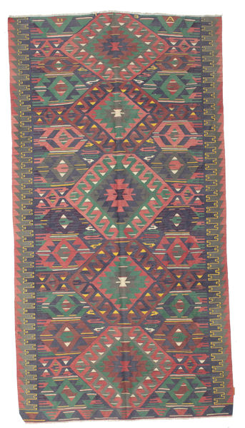 Kilim Semi Antique Turkish Rug 174X330 Authentic  Oriental Handwoven Dark Grey/Light Grey (Wool, Turkey)