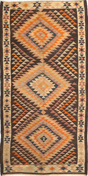 Kilim Fars Rug 142X294 Authentic  Oriental Handwoven Light Brown/Dark Brown (Wool, Persia/Iran)