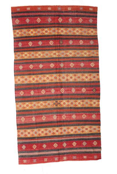 Kelim Semiantiikki Turkki Matto 174X330 Itämainen Käsinkudottu Tummanpunainen/Ruskea (Villa, Turkki)