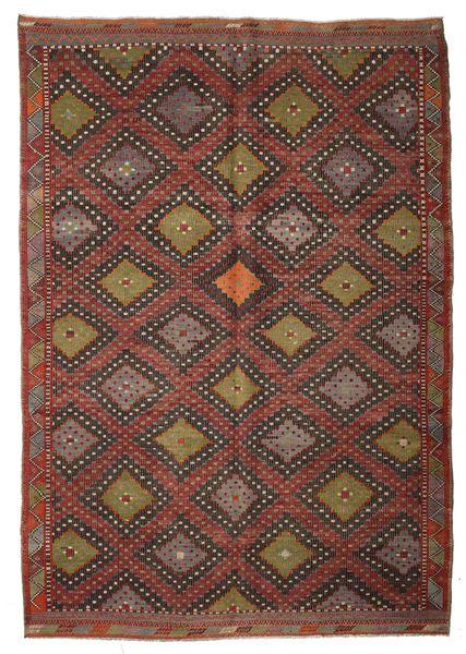 Kilim Semi Antique Turkish Rug 203X290 Authentic  Oriental Handwoven Dark Brown/Dark Red/Brown (Wool, Turkey)