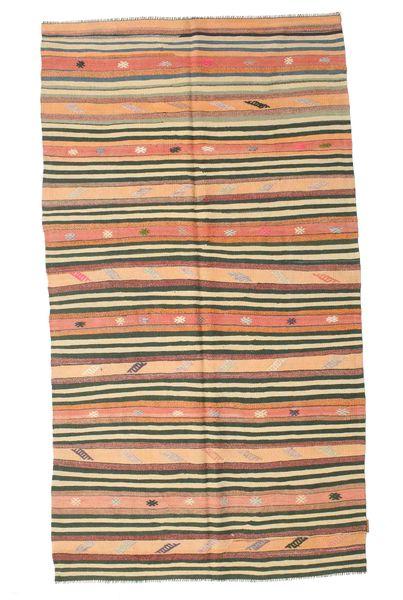 Kilim Semi Antique Turkish Rug 152X274 Authentic  Oriental Handwoven Dark Beige/Dark Green (Wool, Turkey)