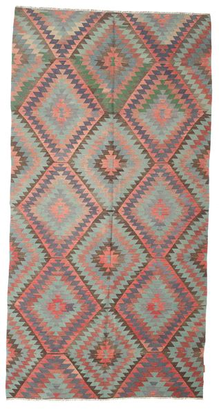 Kilim Semi Antique Turkish Rug 170X334 Authentic  Oriental Handwoven Light Grey/Dark Brown (Wool, Turkey)
