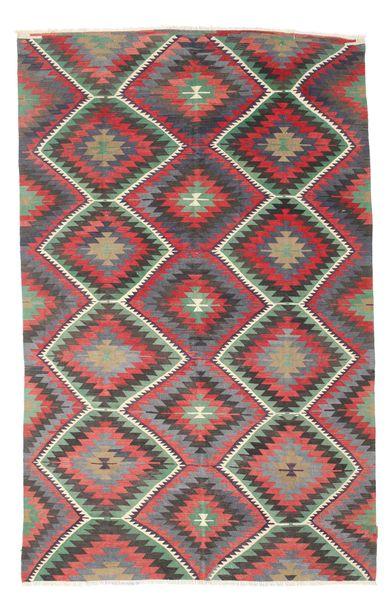 Kelim Semiantiikki Turkki Matto 182X285 Itämainen Käsinkudottu Tummanharmaa/Violetti (Villa, Turkki)
