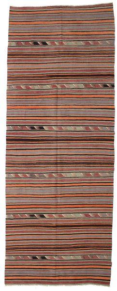 Kelim Halbantik Türkei Teppich  148X392 Echter Orientalischer Handgewebter Läufer Dunkelrot/Dunkelbraun (Wolle, Türkei)