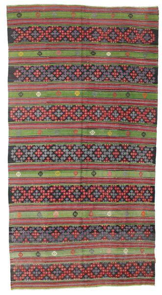 Kilim Semi Antique Turkish Rug 180X345 Authentic  Oriental Handwoven Dark Grey/Dark Red (Wool, Turkey)