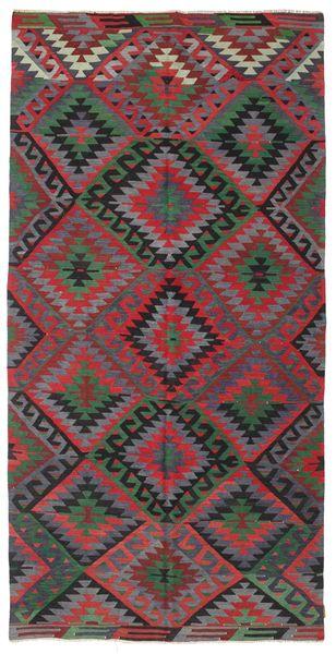 Kelim Semiantiikki Turkki Matto 164X330 Itämainen Käsinkudottu Tummanharmaa/Punainen (Villa, Turkki)