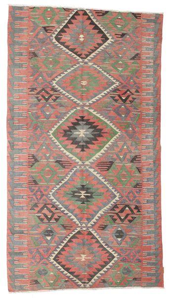 Kilim Semi Antique Turkish Rug 163X297 Authentic  Oriental Handwoven Dark Red/Light Grey (Wool, Turkey)