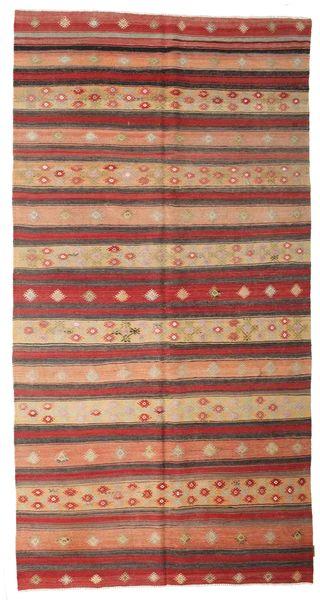 Kilim Semi Antique Turkish Rug 168X337 Authentic  Oriental Handwoven Dark Red/Rust Red (Wool, Turkey)