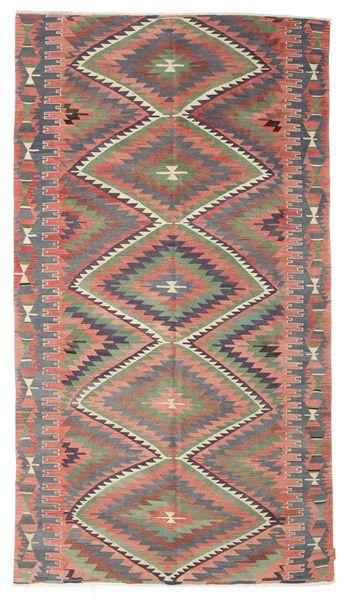 Kelim Semiantik Turkisk Matta 182X325 Äkta Orientalisk Handvävd Ljusbrun/Mörkgrå (Ull, Turkiet)